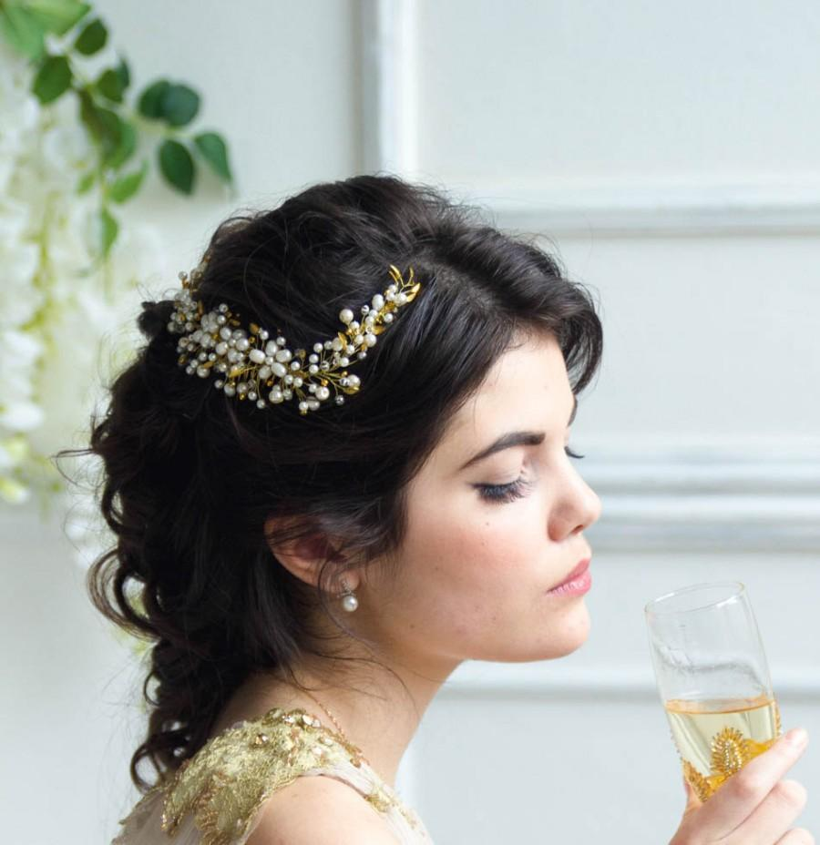 bridal headpiece, gold leaf headband, pearl bridal headband