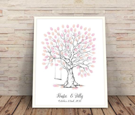 Finger Print Trees Wedding Gift Ideas Customised Personalised Tree Printable Swing