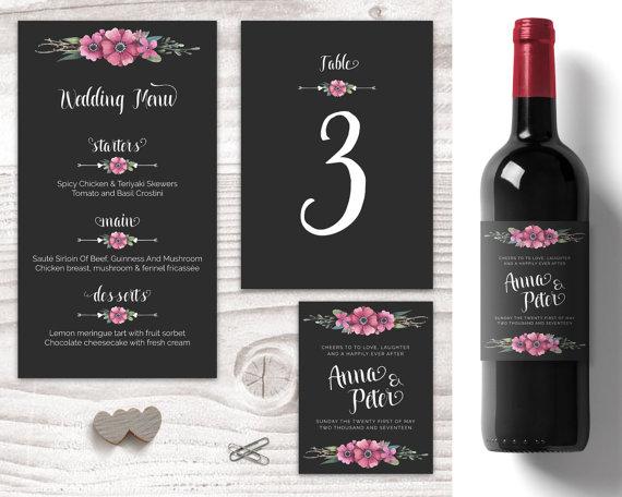 Blackand Fl Wedding Table Decorations Personalised Wine Labels Customised Menu Numbers