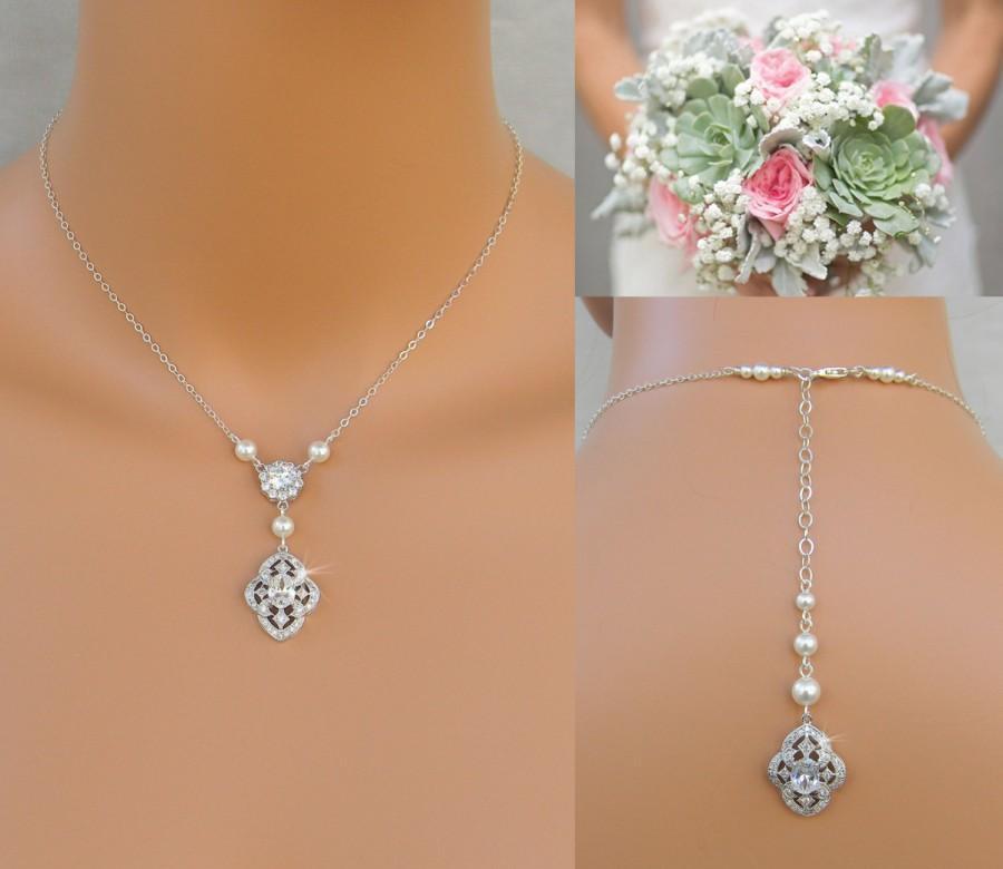 Pearl Bridal Necklace Dainty Backdrop Wedding Earrings Vintage Style Jewelry Set Lola