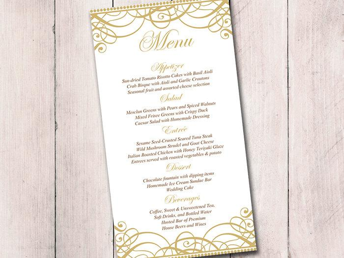 Gold Wedding Menu Card Template Reception Flourish Exquisite Printable Formal
