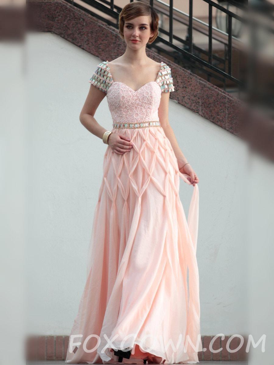 Cap-Sleeve Stock Länge Prom Kleid Rosa - Festliche Kleider