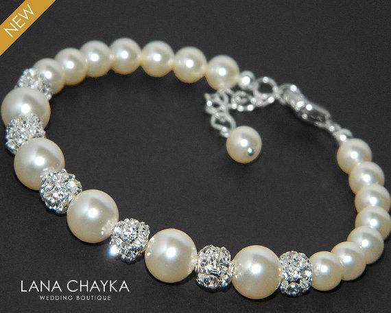 Pearl Bridal Bracelet Swarovski Ivory Silver Wedding Crystal Bracelets Jewelry