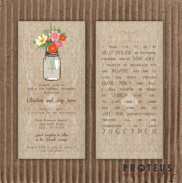 Mason Jar Printable Invitation Rustic Wedding Program Vow Renewal