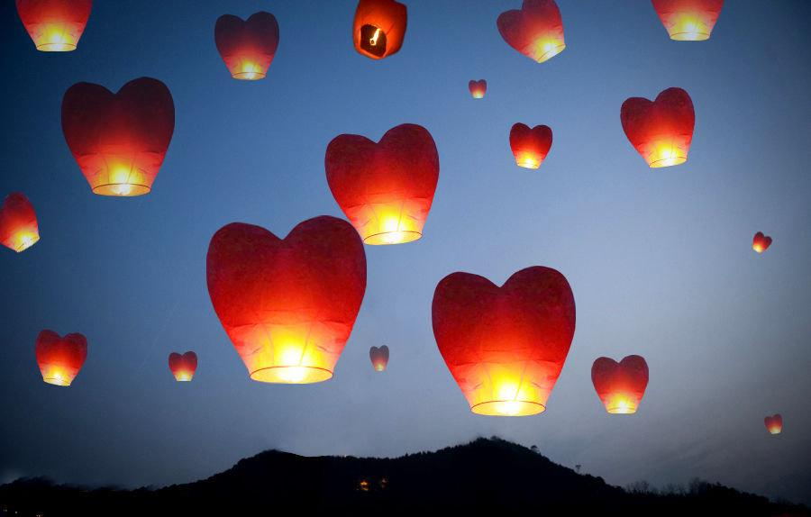 20 Multi Color Heart Shaped Chinese Lanterns Sky Fly Candle Lamp For Wish Party Wedding Holiday Birthday Celebration Vintage Handmade Gift