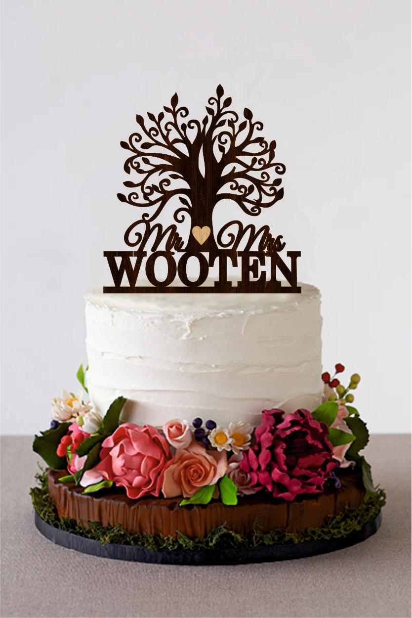 Tree Wedding Cake Topper Custom Last Name Wooden Mr And Mrs Personalized Wood Rustic