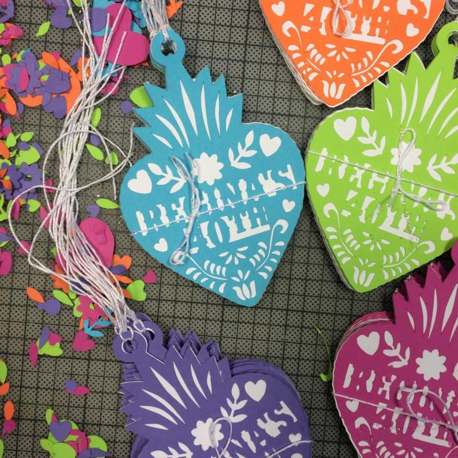 Papel Picado Mexican Wedding Thank You Gift Tags Fiesta Corazon Gracias Tag Personalized Paper Cut Set Of 12
