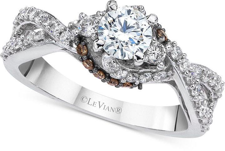 Le Vian Bridal Twisted Diamond Engagement Ring 1 Ct T W In 14k White Gold