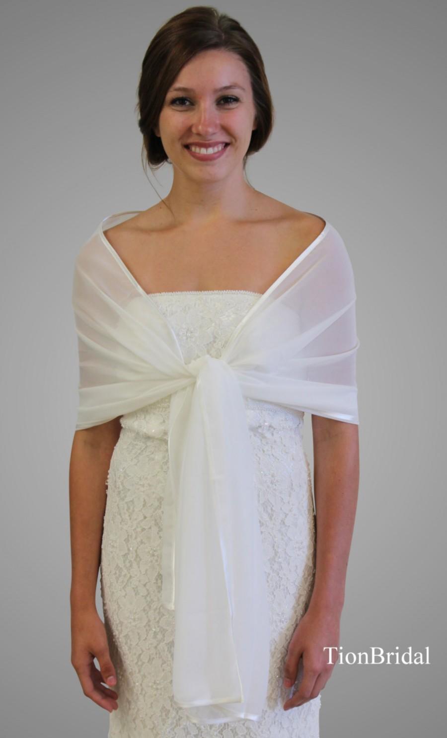 Chiffon Shawl Ivory Bridal Wrap Wedding Stole 7139ch