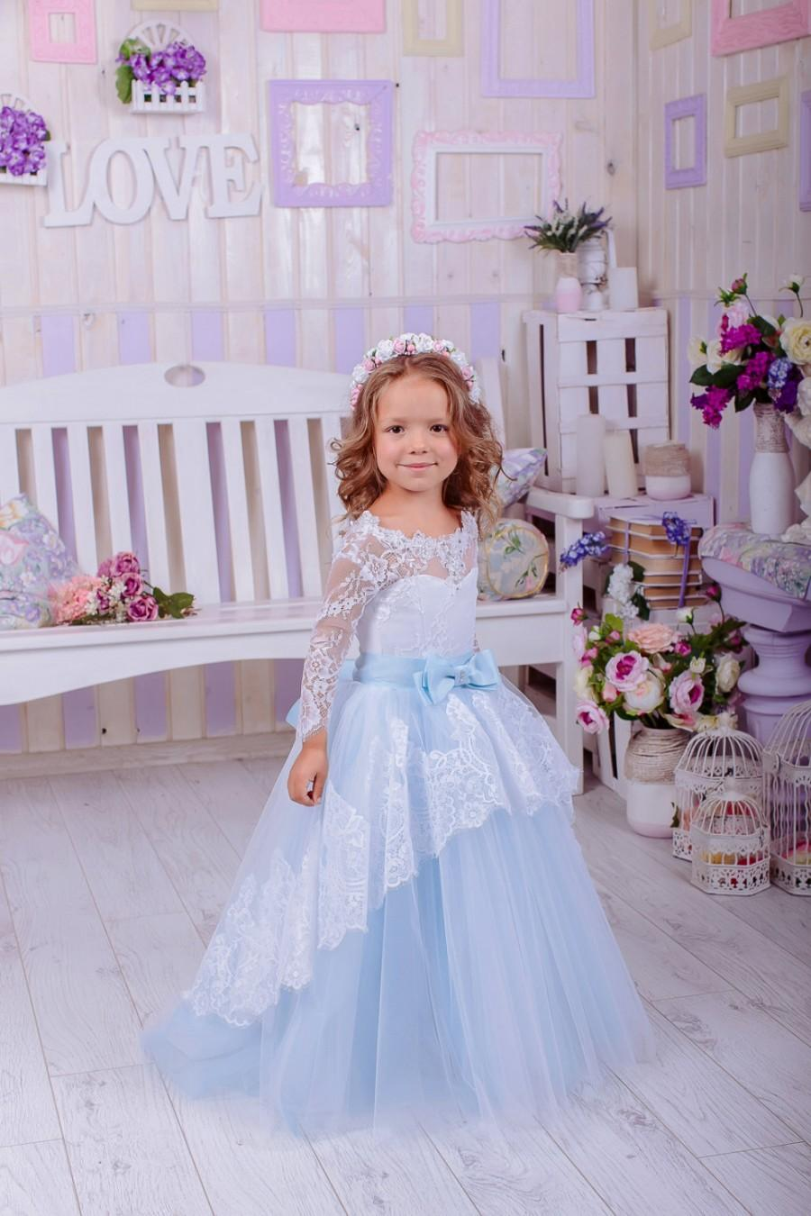 Baby Blue Lace Flower Dress Wedding Party Rustic S Dresses Ivory
