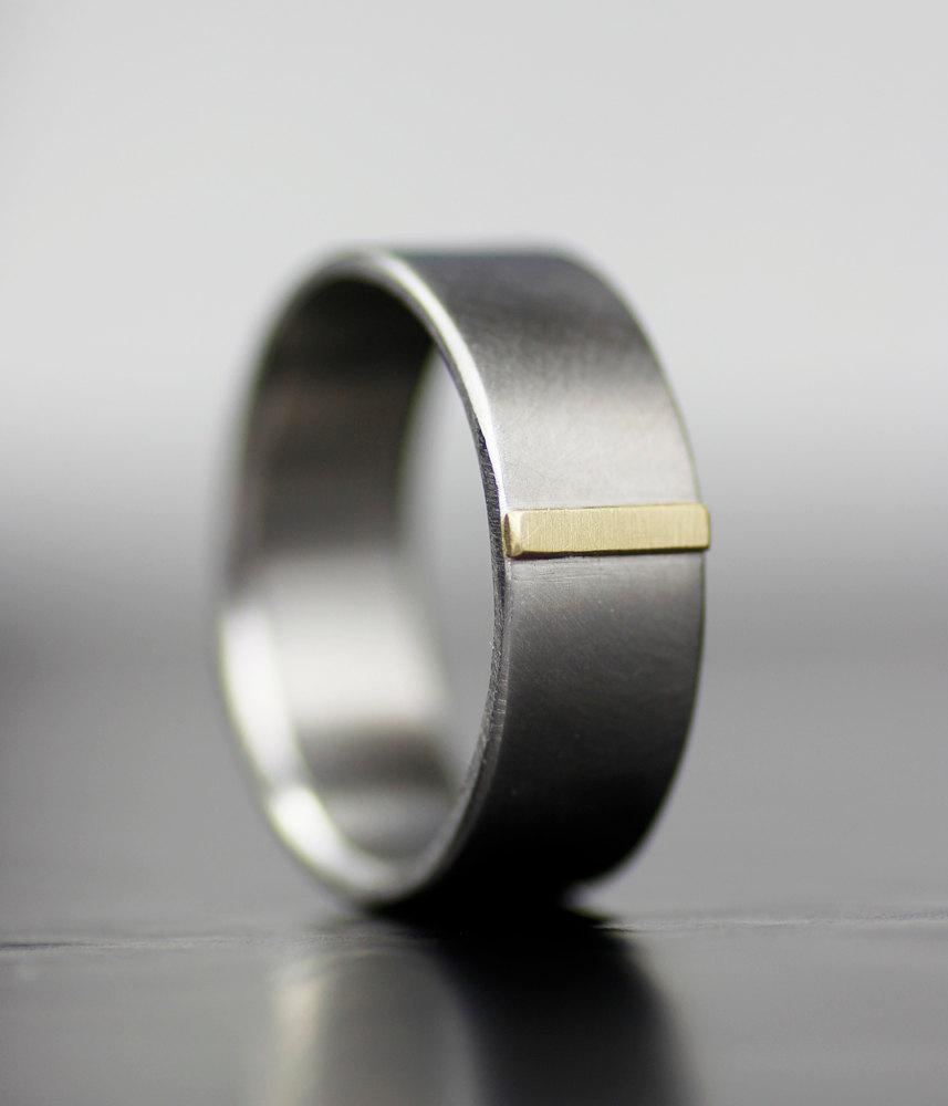 Mens Wedding Band Modern Womens Ring Palladium And Gold Simple Handmade