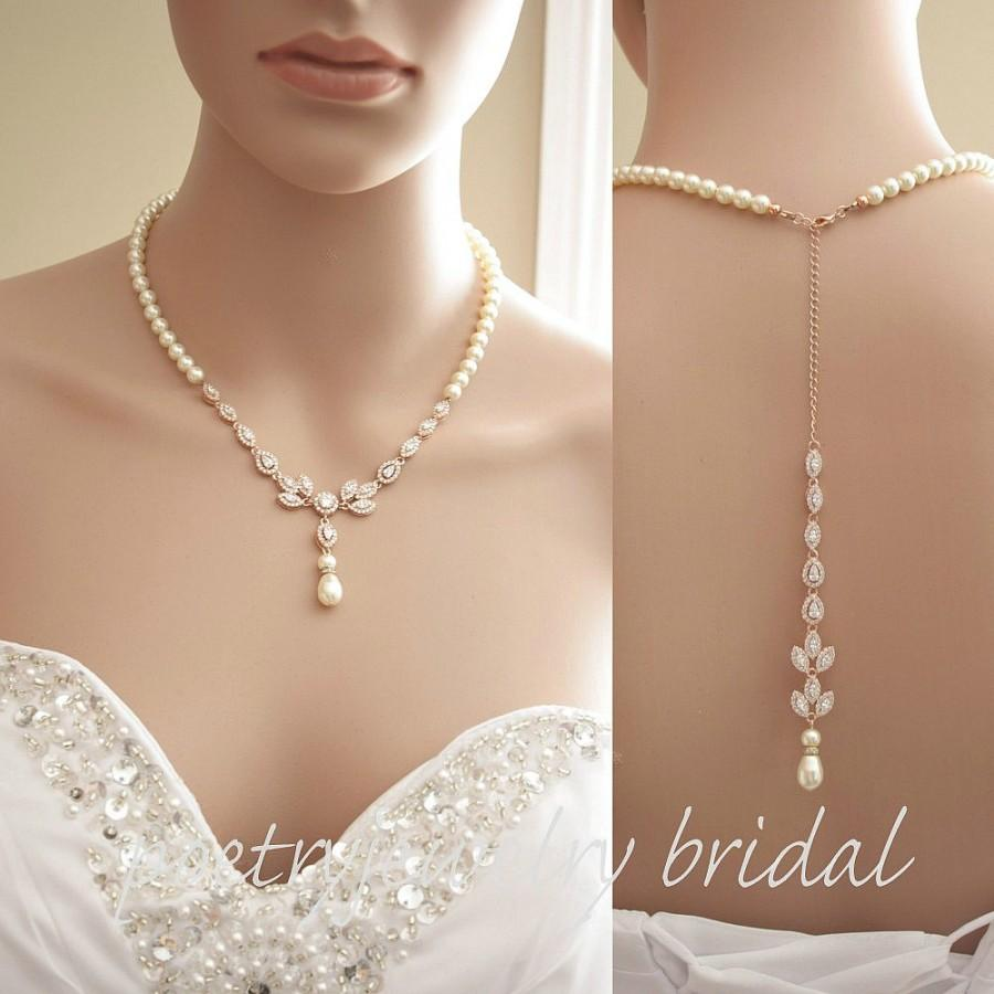 Rose Gold Pearl Necklace Wedding Back Jewelry Bridal Crystal Amity