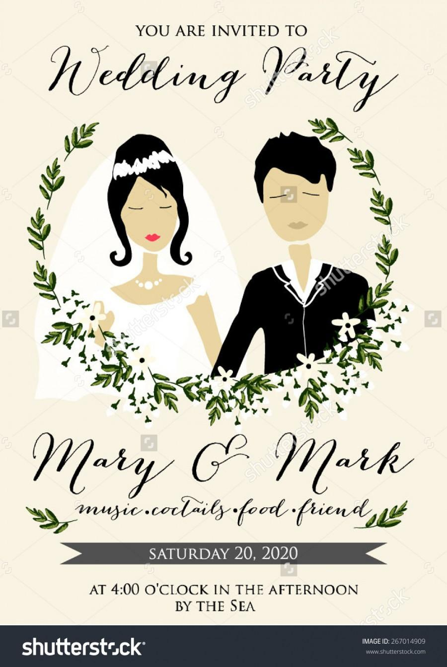 Wedding Invitation With Cartoon Groom And Bride In Retro Style
