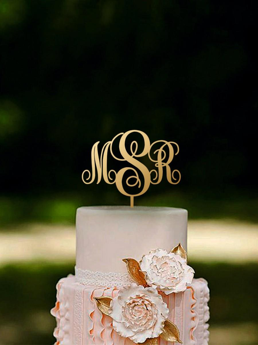 Initial Cake Topper Monogram Couple Name Rustic Wood Gold Silver