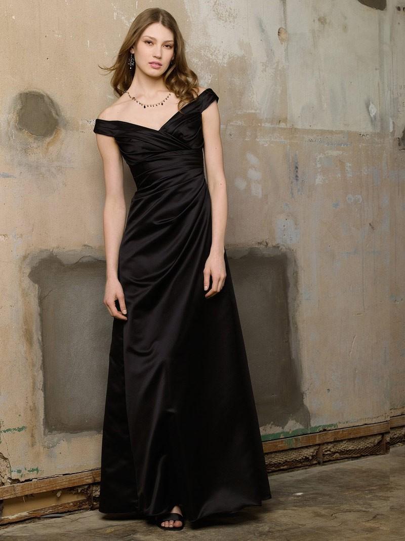 satin kleid schwarz lang