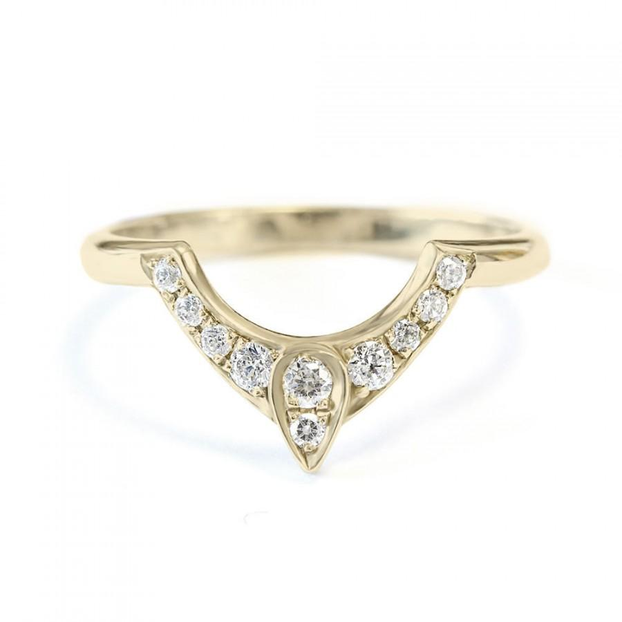 Third Eye Wedding Ring Diamond Pear Engagement Gold Side Band Women Jewelry Gift