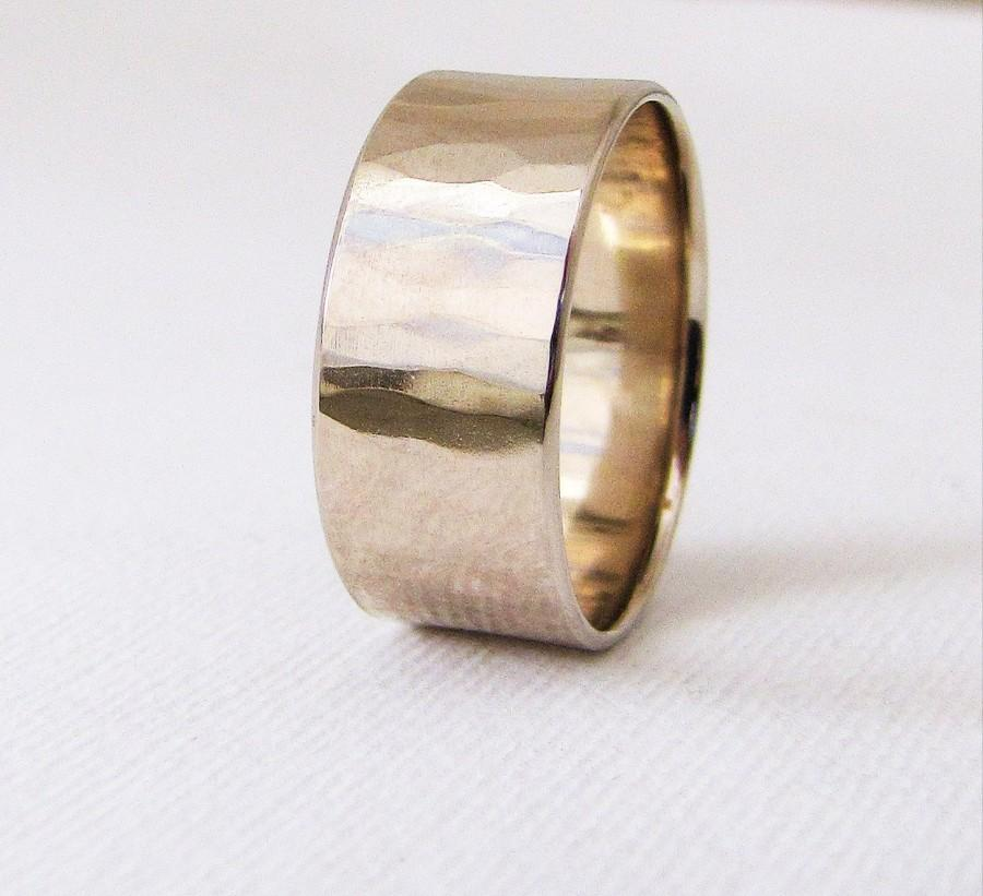 White Gold Wedding Band Mens Wide Hammered Wedding Ring Rustic