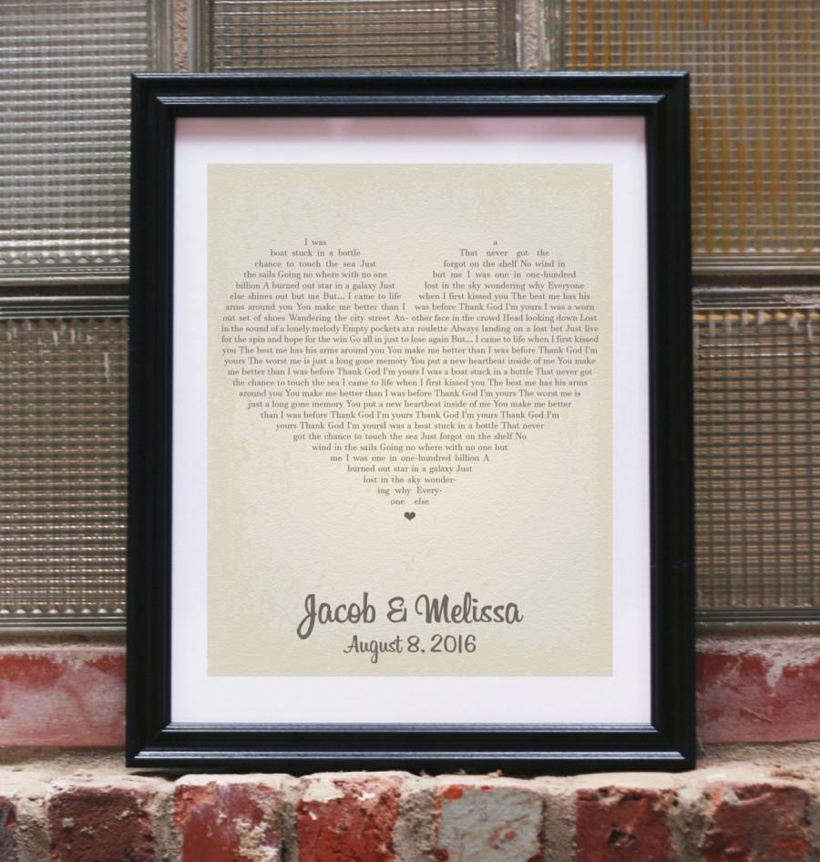 Wedding Gift Song Lyrics Personalized Gifts For Unique Vows Art Print Custom Heart Love Artwork Him Her