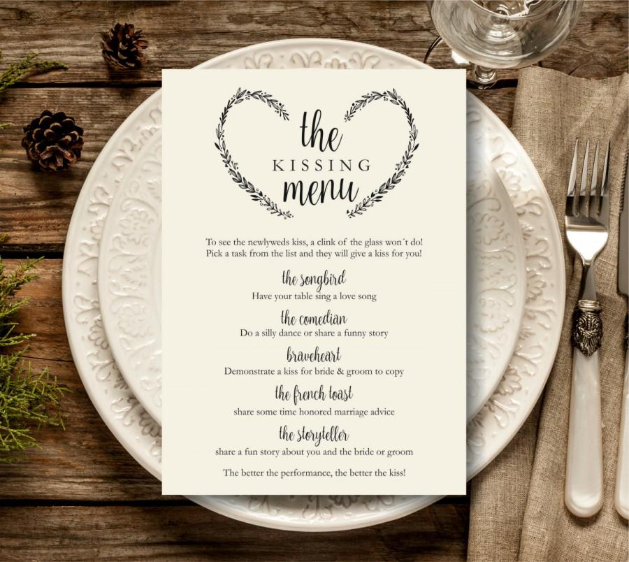 Kissing Menu Printable Wedding Template Reception Sign Instant Pdf