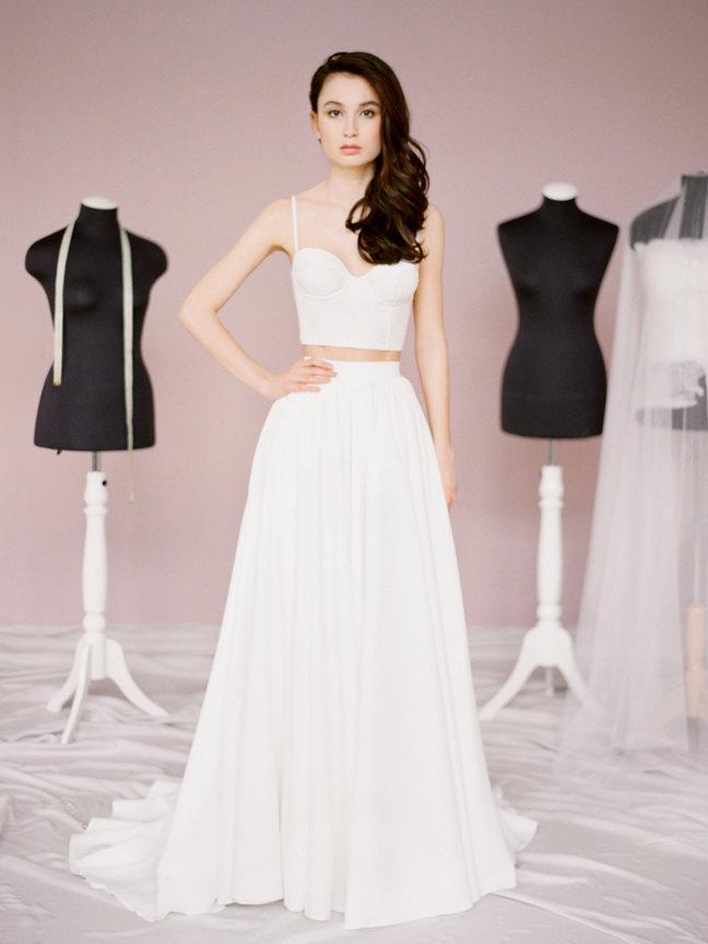 Patty Top Bridal Separates Wedding Crop Lace Corset Corselette Alternative