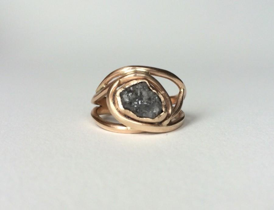 14k Raw Diamond Engagement Ring Unique Gray Alternative Recycled Gold
