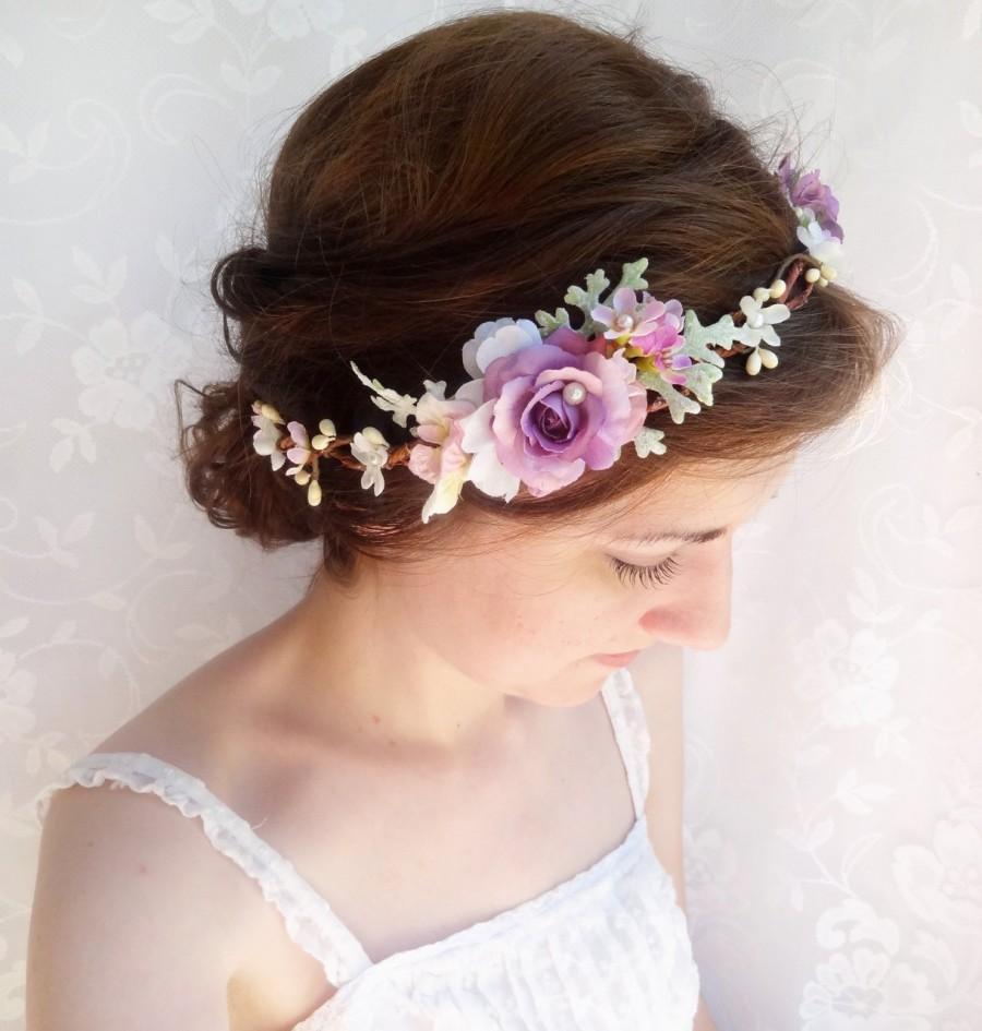 purple flower crown, purple hair accessories, purple headband