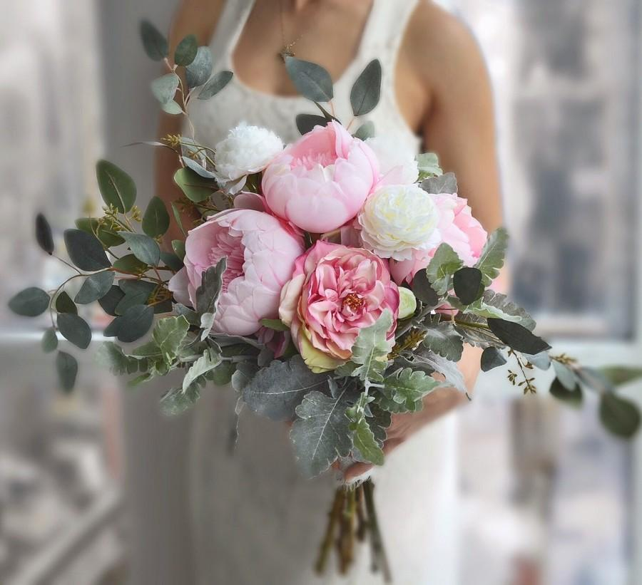 Wedding Bouquet Pink Peony Bridal Roses Realistic Silk Flowers Alternative