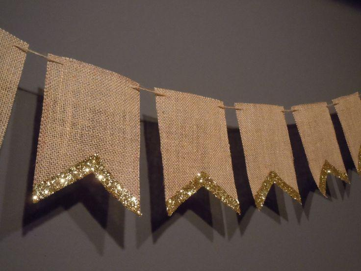 Unique Cardstock Paper 8 Pennant Flag Gold Glitter Edge Banner Party Decoration Decor Birthday Wedding Baby Shower