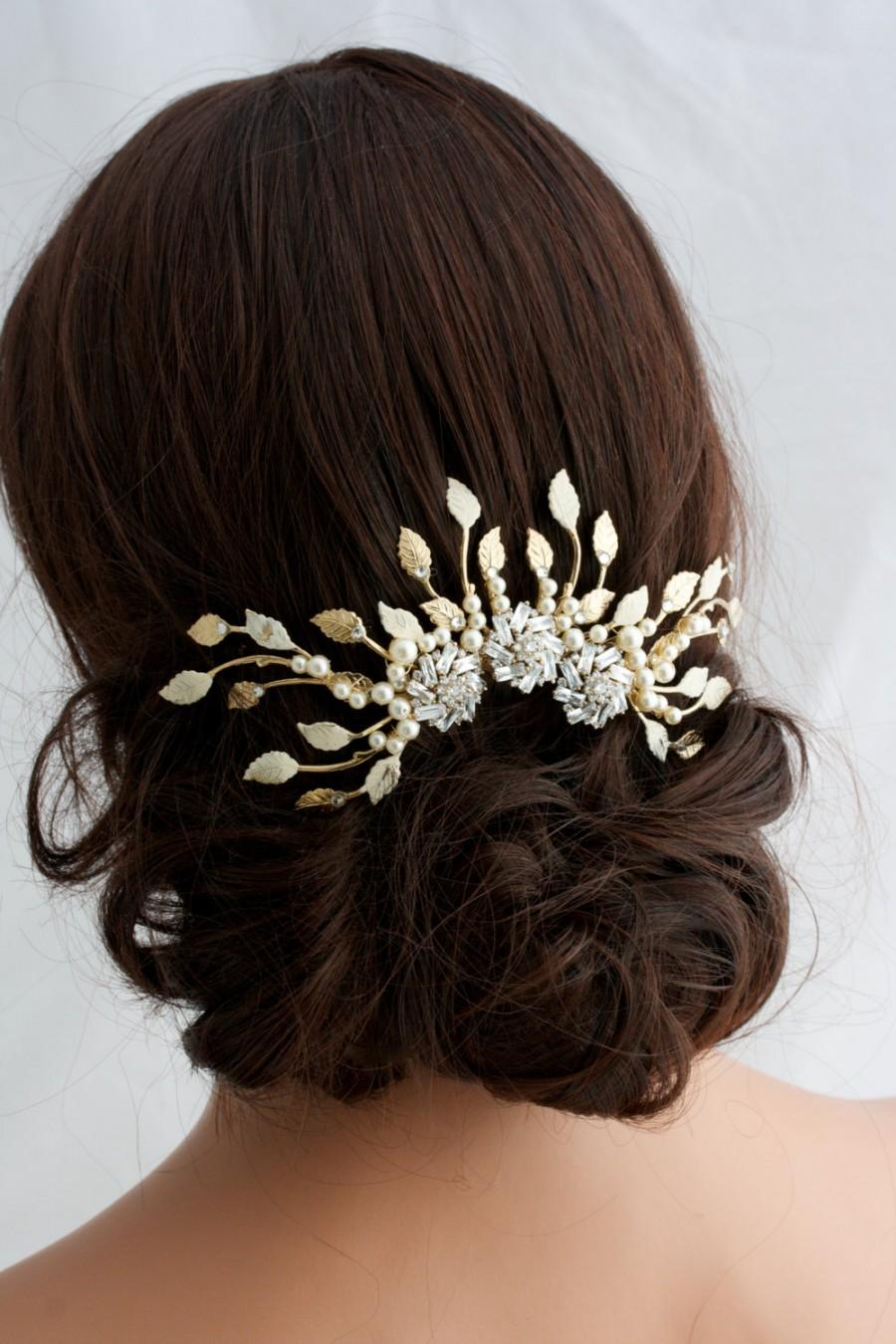 gold wedding headpiece gold bridal hair accessories gold large