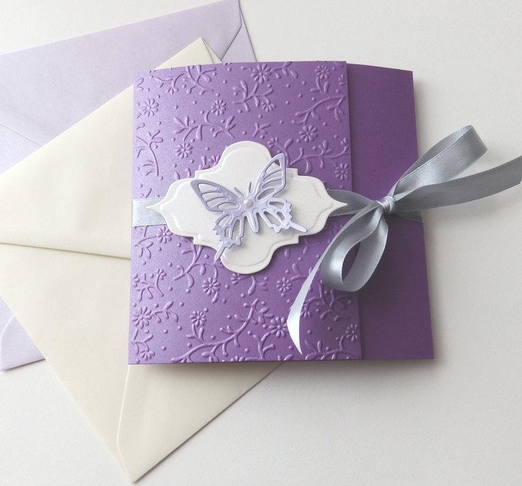 Erfly Handmade Wedding Invitation Purple Lavender Invite Unique Baptism Sweet Six Baby Shower