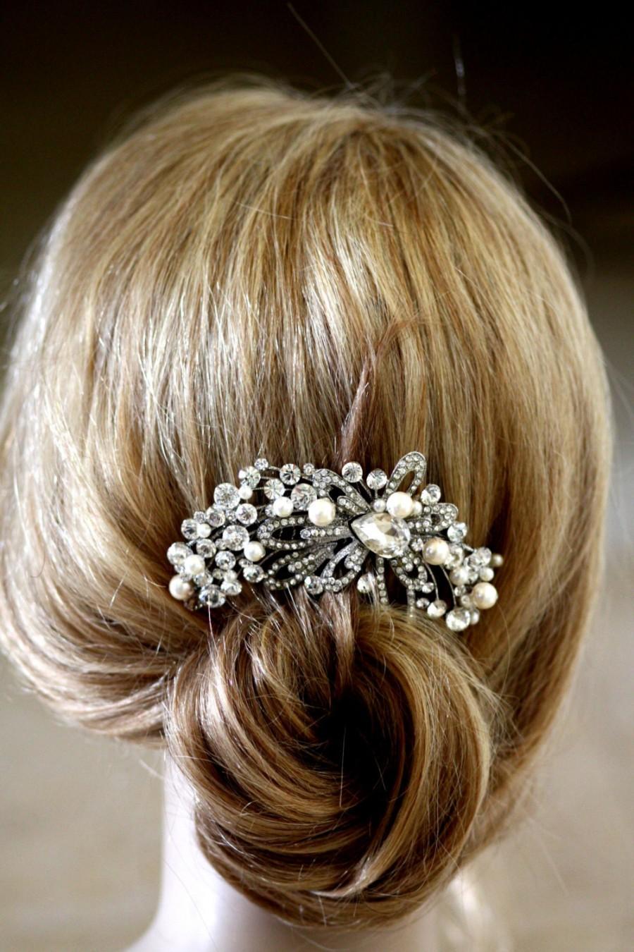 vintage inspired pearls bridal hair comb, swarovski pearl hair
