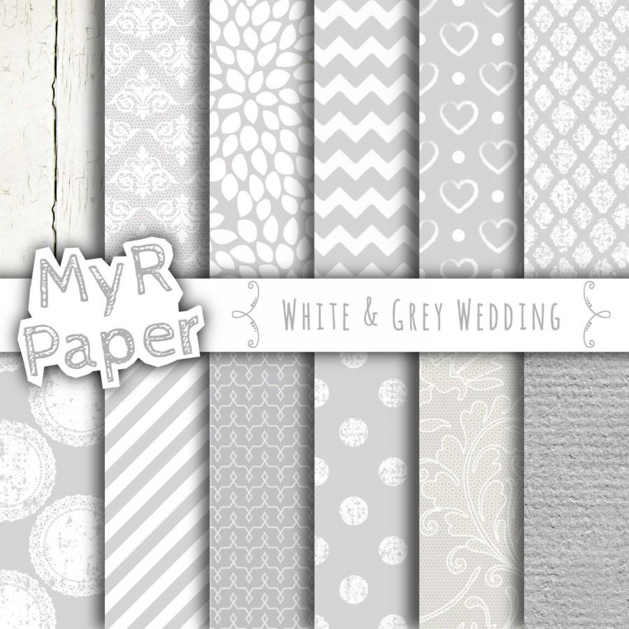 Wedding Digital Paper White Grey And Gray With Chevron Stripes Polka Dots Hearts Lace Wood Cardstock Lacy