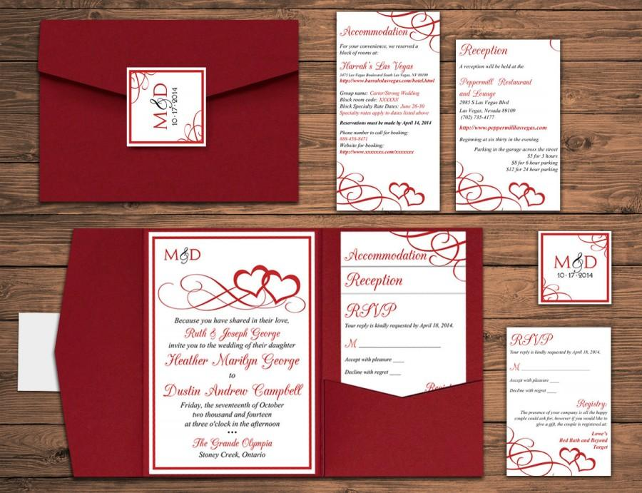 Heart Wedding Pocketfold Invitation Suite Red Deposit Valentine Entwined Hearts Set