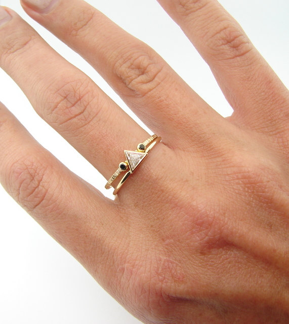 Triangle Diamond Ring Trillion Engagement With Black Wedding Set 14kt Solid Gold