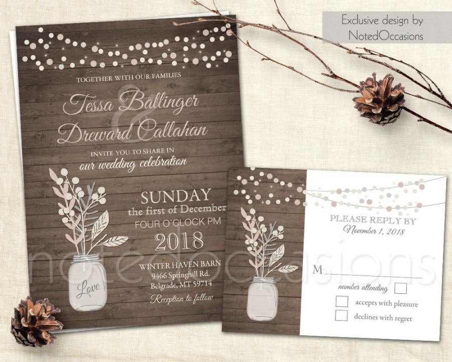Wedding Invitation Set Mason Jar Blush Pink Gray Rustic Chic Country Neutral Tone Diy Digital Printable Template Invite Rsvp