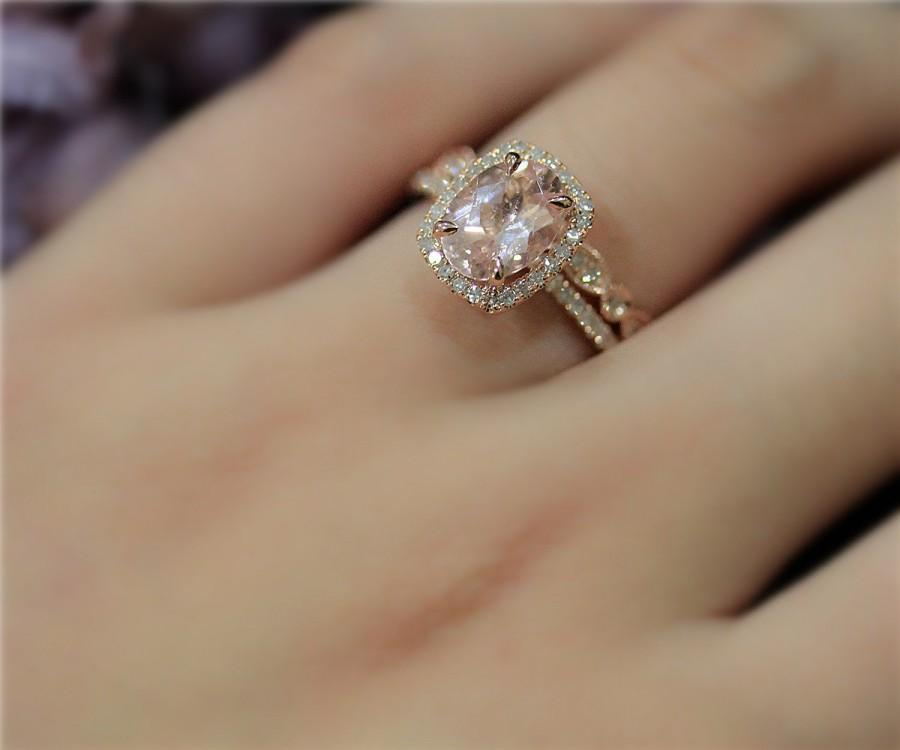 Handmade Morganite Ring Set Engegement Ring Set 7x9mm Natural VS