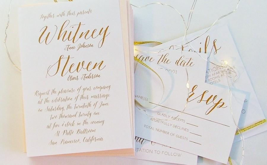 Simple Wedding Invitation Gold Invitations 5 Piece Suite Printed