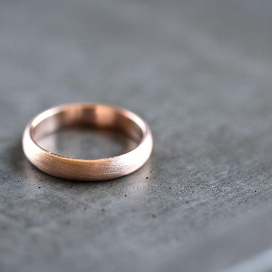 Rose Gold Men S Wedding Band Brushed Or Women Uni 4mm Low Dome Recycled 14k Eco Ring Made In Your Size