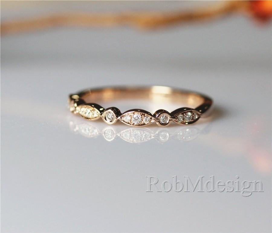 14k Rose Gold Band Half Eternity Diamond Wedding Art Deco Ring Engagement Match Stackable