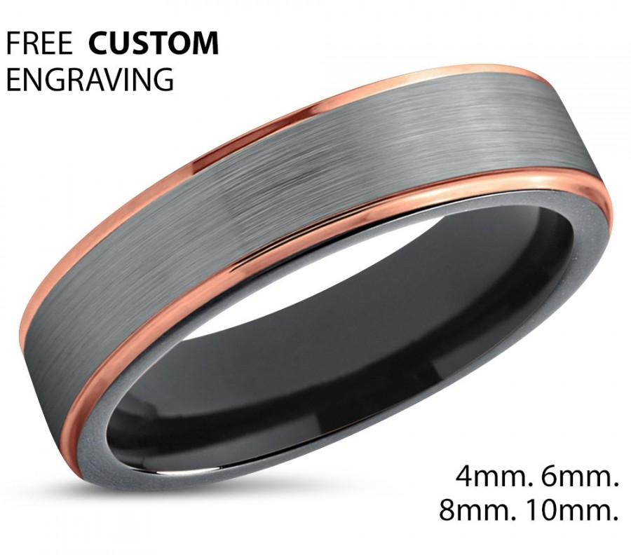 Brushed Silver Black Tungsten Ring Rose Gold Wedding Band Carbide 4mm 18k Man Male Women Anniversary Matching
