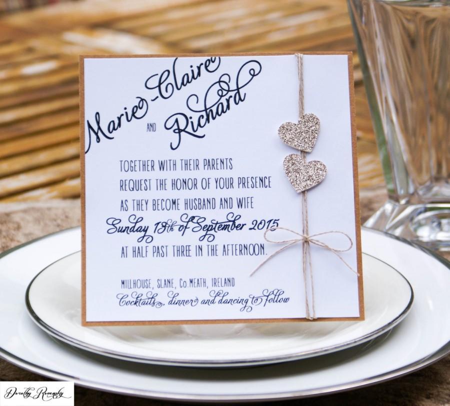 Glitter Heart Wedding Invitation Tying The Knot Champagne Rustic Invite