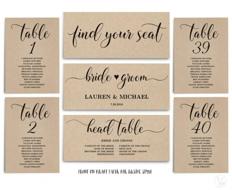 Rustic Wedding Seating Chart Template Header Signs And Table 1 40 Printable Instant Sc008