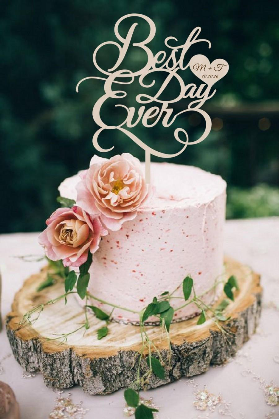 Wedding Cake Topper Best Day Ever Wood Silver Gold