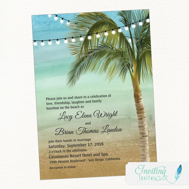 Beach Wedding Invitation Tropical Palm Tree Destination Printable Digital File