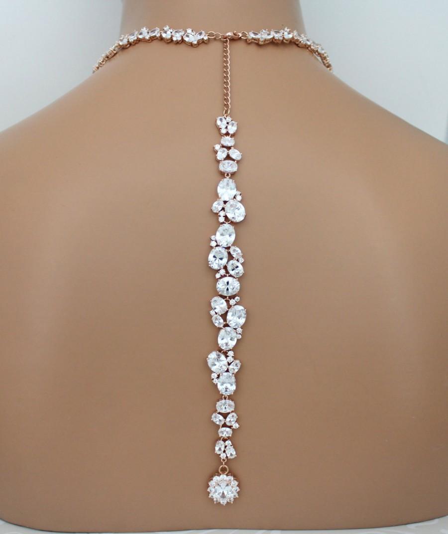Rose Gold Backdrop Necklace, Bridal Back Drop Necklace, Wedding Necklace Set, Bridal Jewelry Set ...