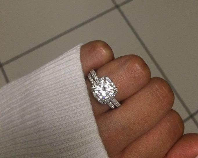 2 Carat Moissanite Engagement Ring ,Cushion Cut Engagement Ring, Cushion Forever Brilliant Moissanite Ring In 14k White Gold. #2583926 - Weddbook