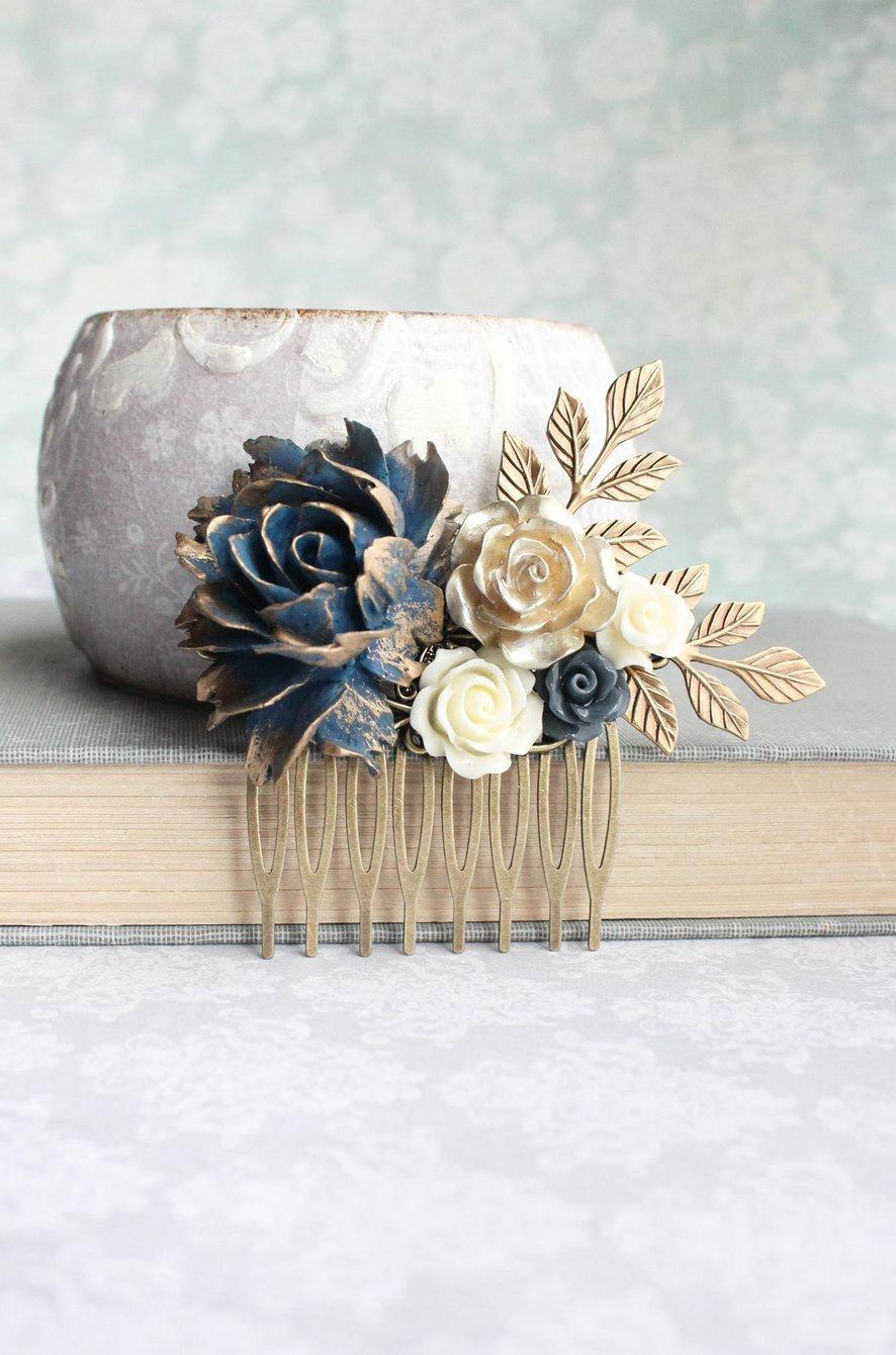 floral hair piece navy and gold wedding bridal hair comb vintage