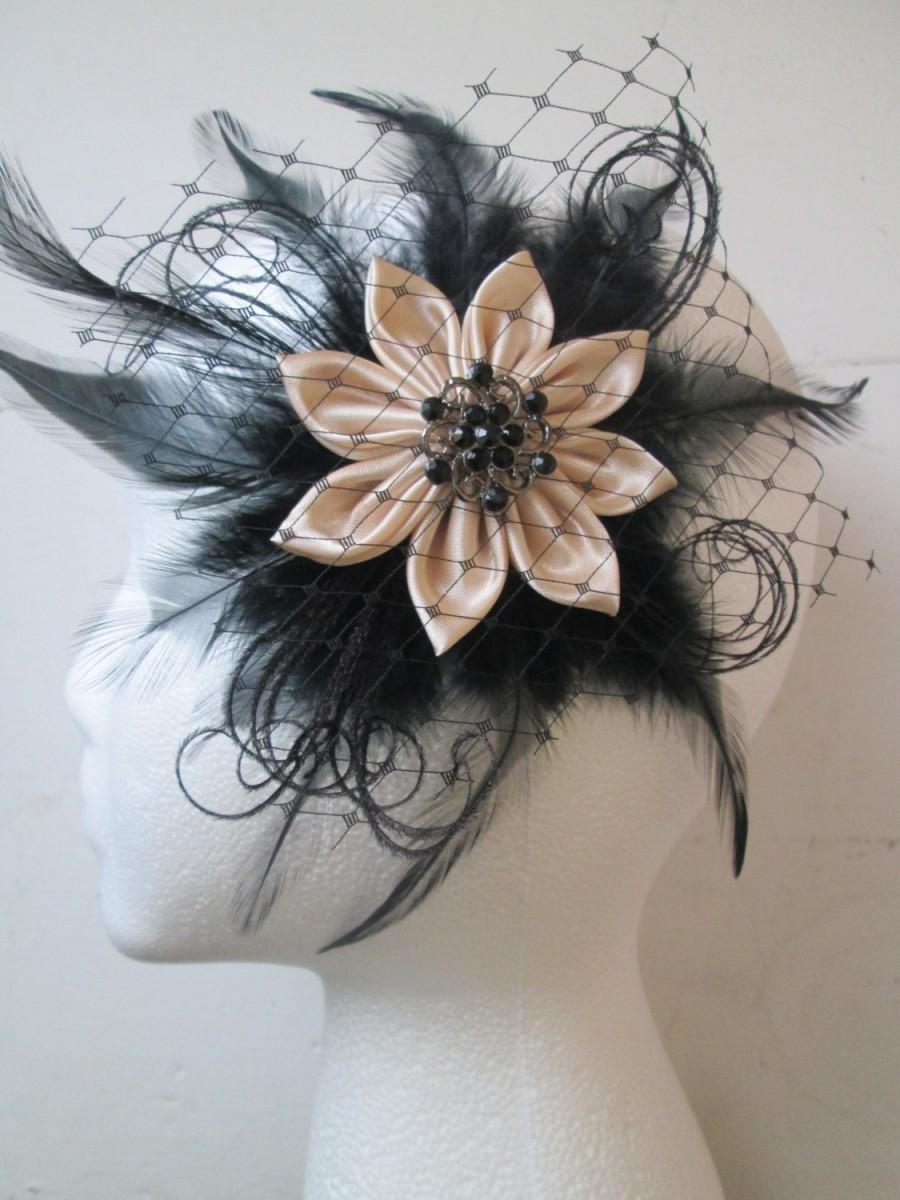 black & nude feather wedding fascinator, champagne and black