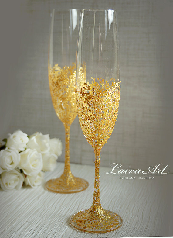 Gold Wedding Champagne Flutes Gles Gatsby Style Toasting Set Of 2