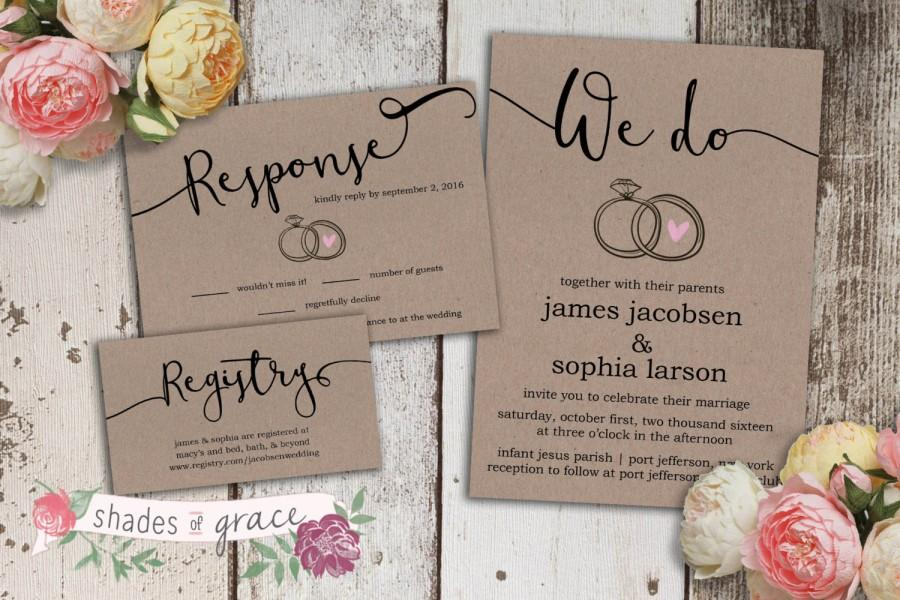 Printable Wedding Invitation Rustic Invitations Kraft Paper Thank You Cards Response Table Numbers